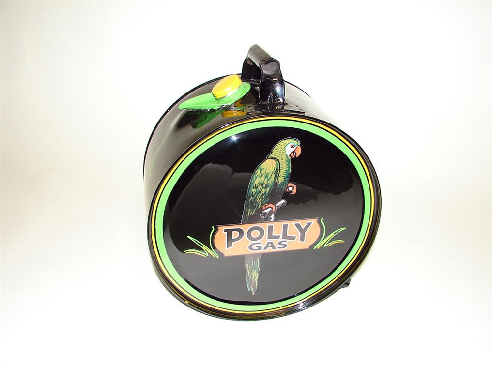 Wonderfully restored rare Polly Oil rocker can with handle. - Front 3/4 - 93796