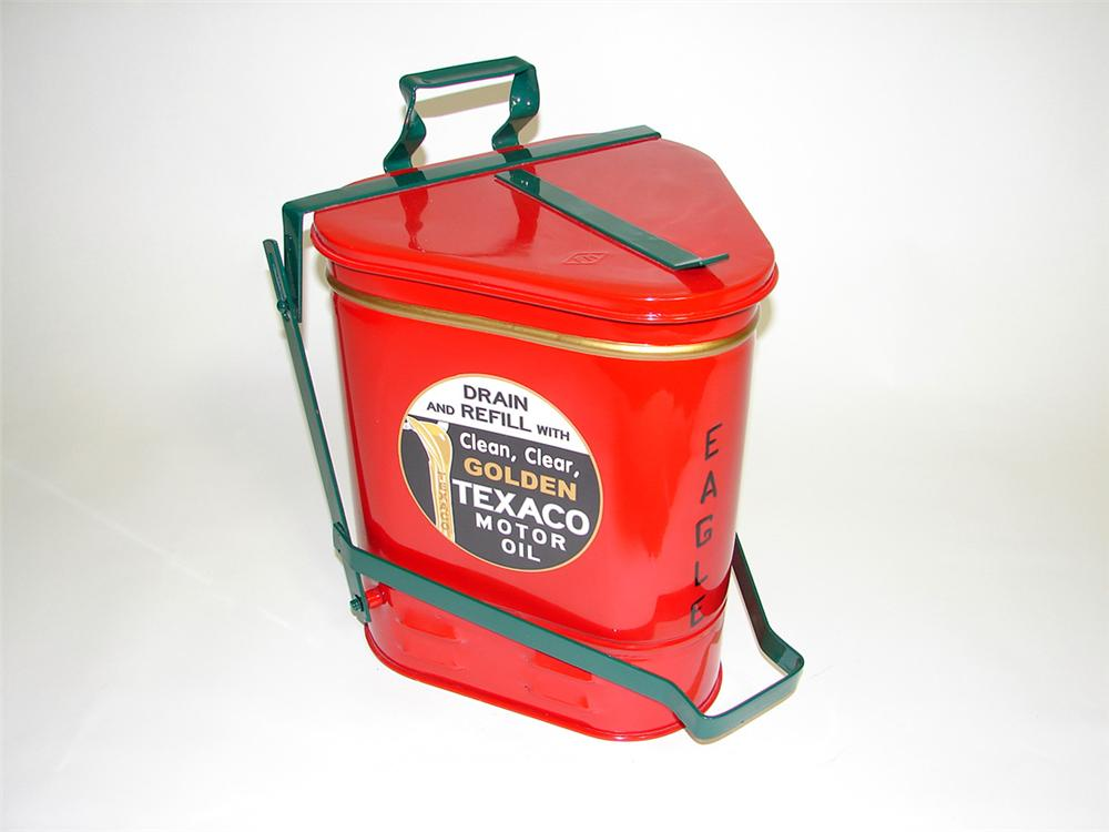 1940s Texaco Eagle restored service department oil rag can with foot lever. - Front 3/4 - 93800