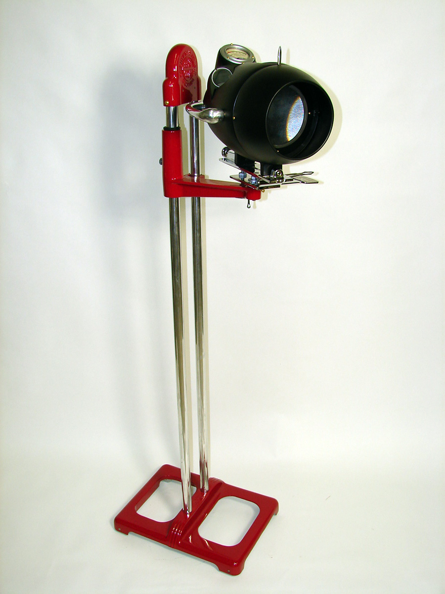 Wonderfully restored 1940s-50s Kent-Moore service garage headlight tester on stand. - Front 3/4 - 93808