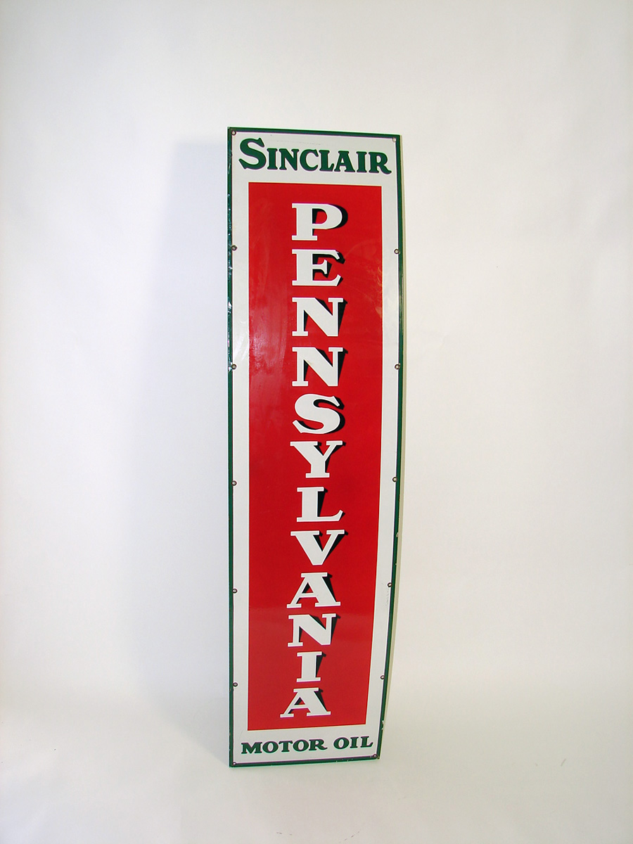 Very clean 1930s Sinclair Pennsylvania Motor Oil porcelain vertical garage sign. - Front 3/4 - 93817