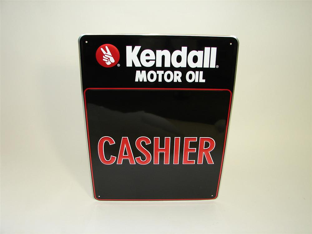 """N.O.S. Kendall Motor Oil """"Cashier"""" single-sided tin painted garage sign. - Front 3/4 - 93822"""