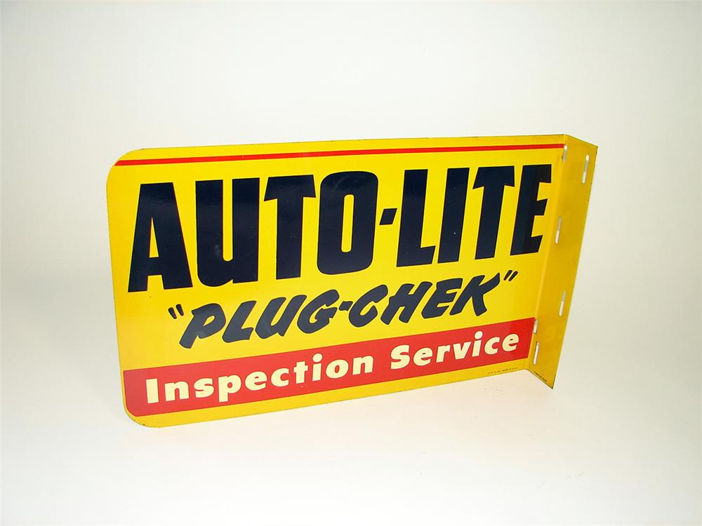 "N.O.S. 1950s Auto-Lite Spark Plugs ""Plug-Check"" tin painted garage flange. - Front 3/4 - 93825"