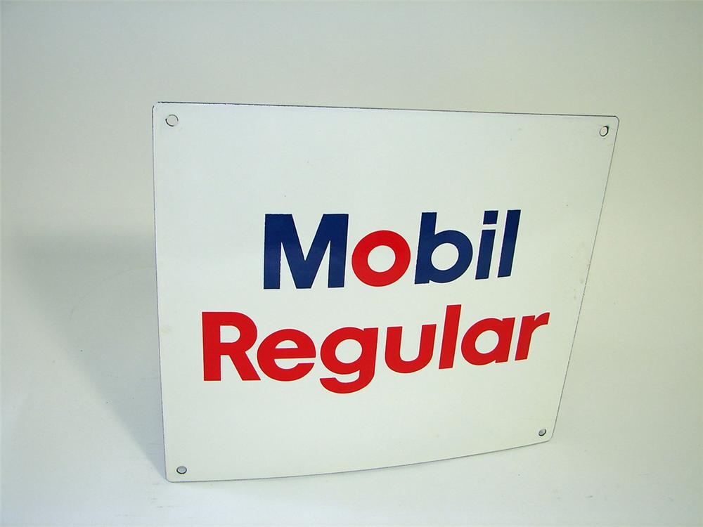 N.O.S. 1960s Mobil Regular porcelain pump plate sign. - Front 3/4 - 93826