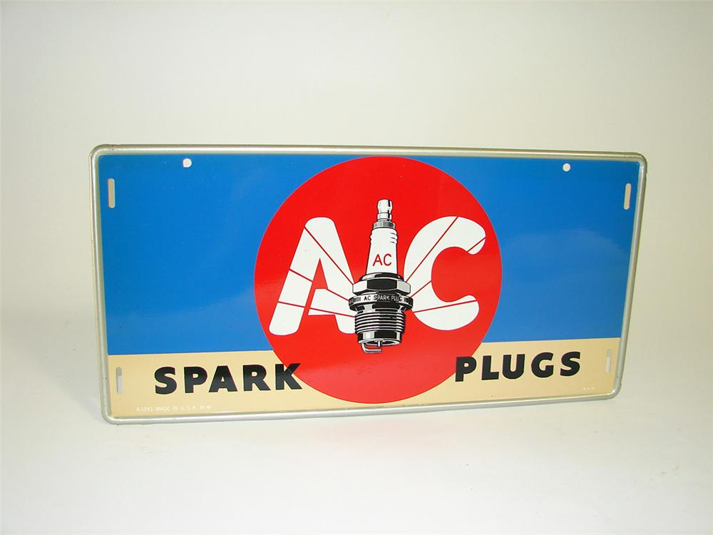 N.O.S. 1941 AC Spark Plugs tin painted garage sign with killer plug graphic. - Front 3/4 - 93827