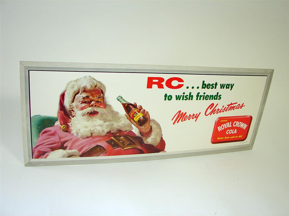 N.O.S. 1958 RC Cola cardboard trolley sign with Santa motif. - Front 3/4 - 93828