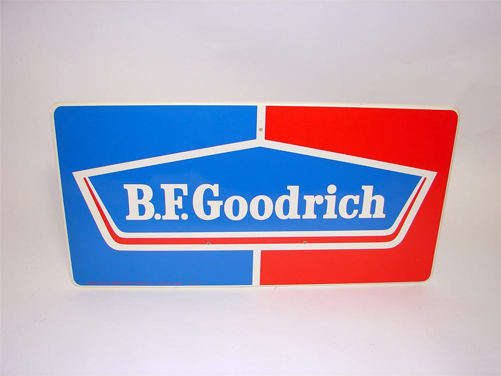 N.O.S. 1960s BF Goodrich Tires single-sided tin garage sign. - Front 3/4 - 93831