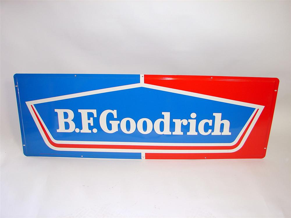 Large N.O.S. 1960s BF Goodrich Tires single-sided tin garage sign. - Front 3/4 - 93832