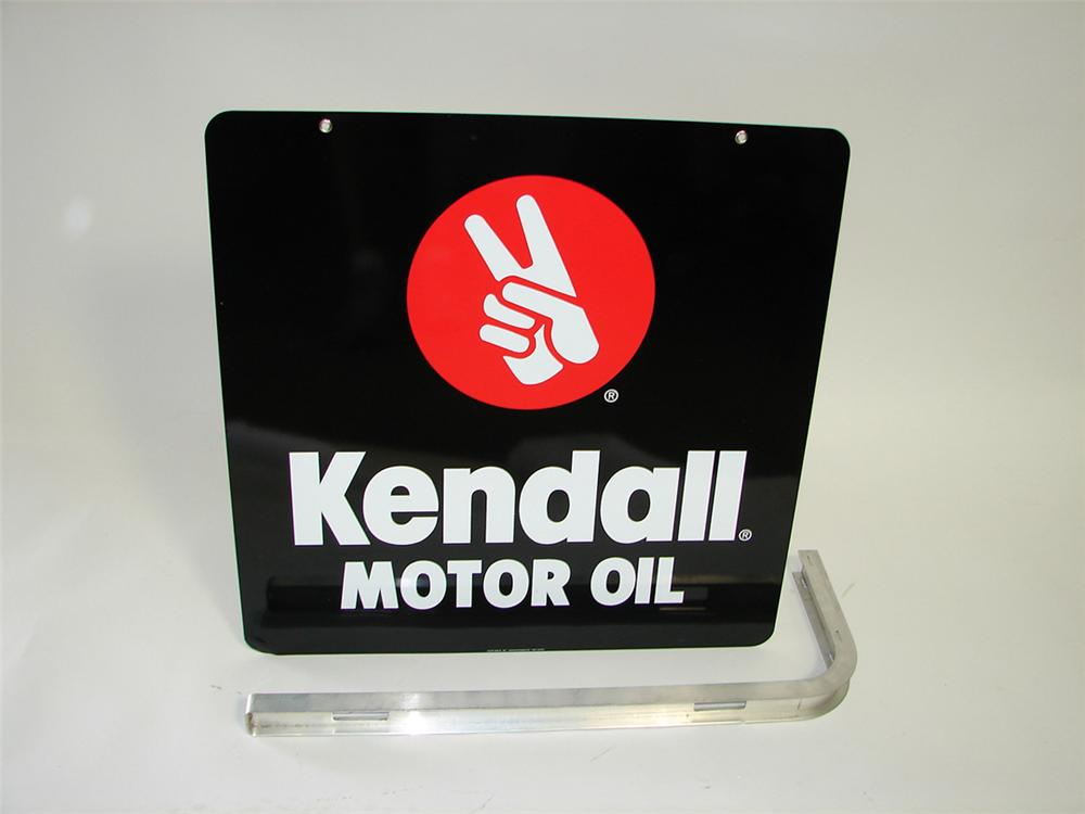 N.O.S. Kendall Motor Oil double-sided tin garage sign with original hanger. - Front 3/4 - 93835