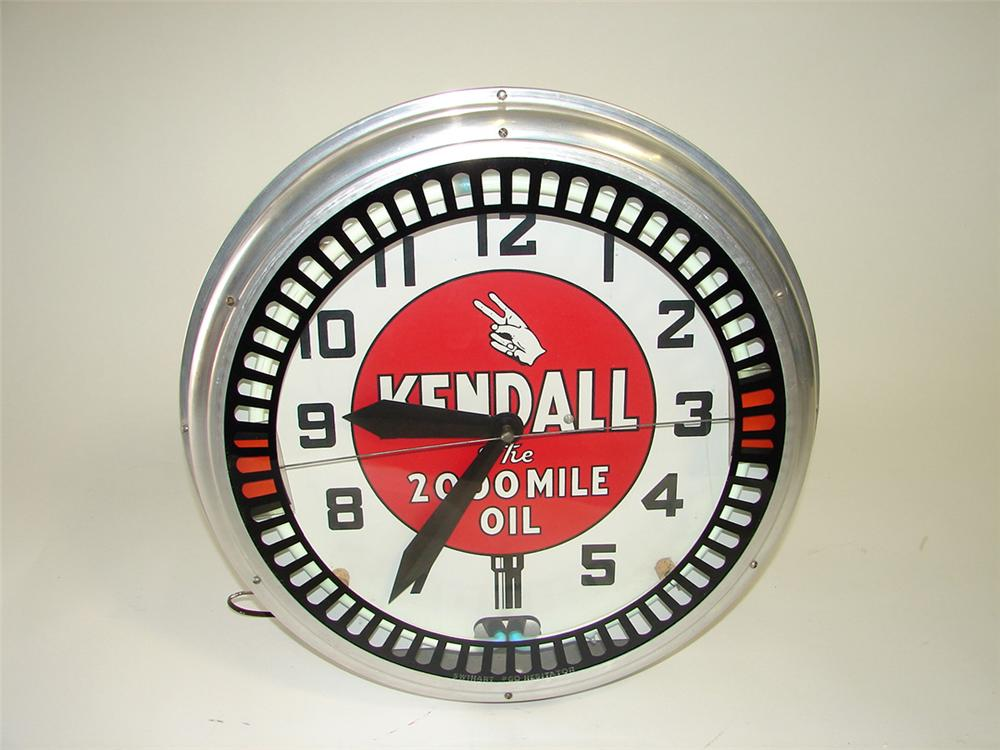 Incredible 1930s Kendall Motor Oil neon garage clock with animation wheel. - Front 3/4 - 93836