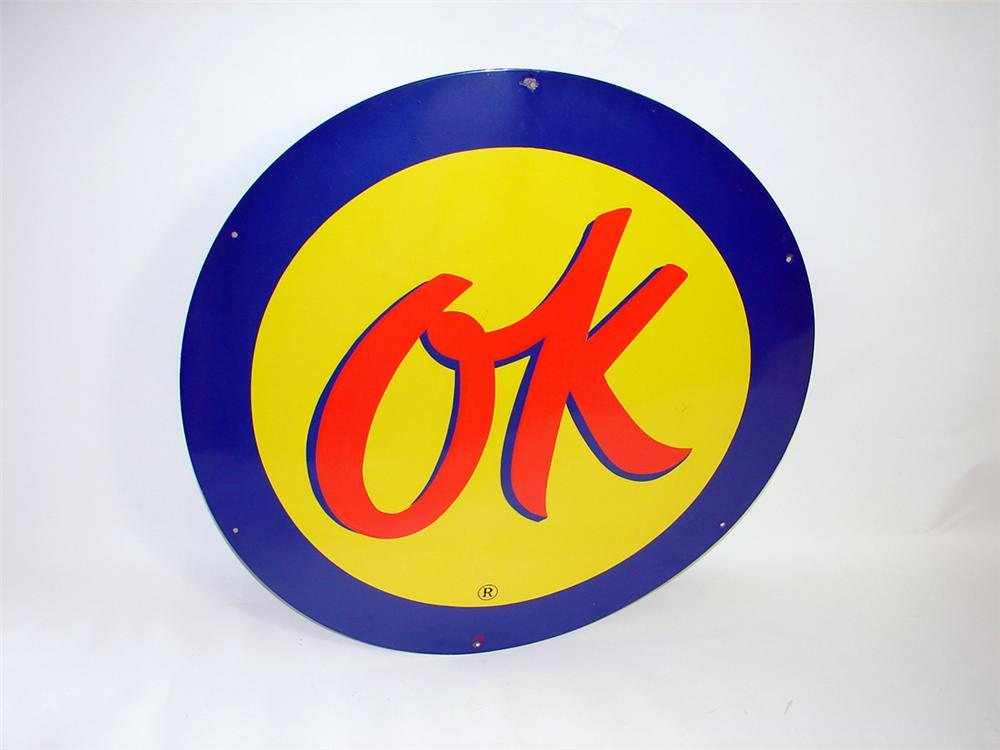 Scarce 1950s Chevrolet OK Used Cars single-sided porcelain service station sign. - Front 3/4 - 93840