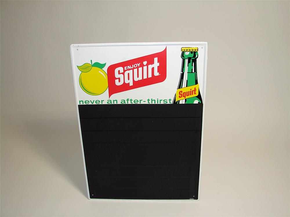 N.O.S. 1960s Squirt Soda diner menu board embossed tin sign. - Front 3/4 - 93877