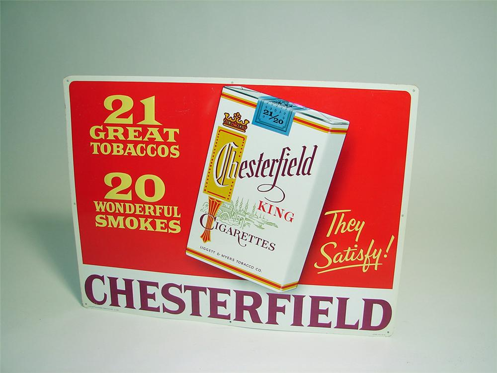 N.O.S. late 1950s Chesterfield Cigarettes single-sided embossed tin general store sign. - Front 3/4 - 93879