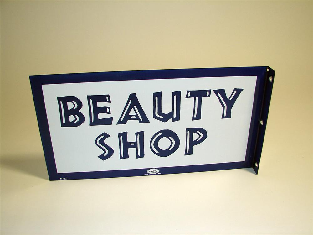 N.O.S. 1950s Beauty Shop porcelain flange sign. Found in the original shipping crate. - Front 3/4 - 93881