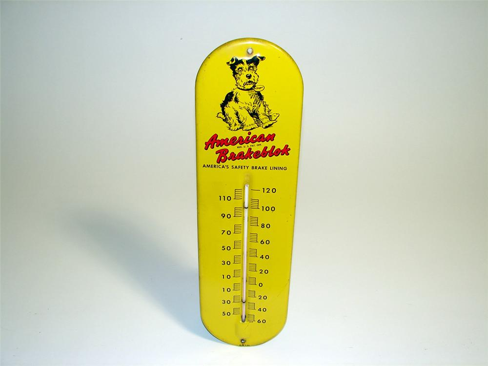 Neat 1957 American Brakeblok over-sized tin painted garage thermometer with adorable dog graphic. - Front 3/4 - 93884