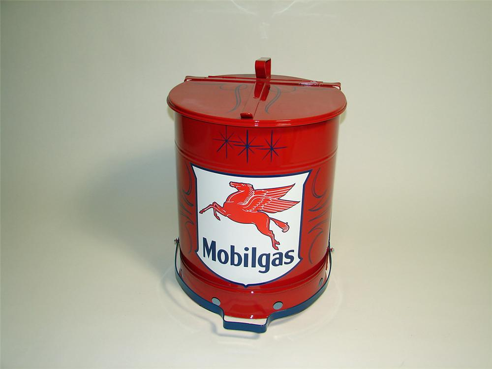 Superbly restored 1940s Mobil Oil service department oil rag can with foot lever. - Front 3/4 - 93889