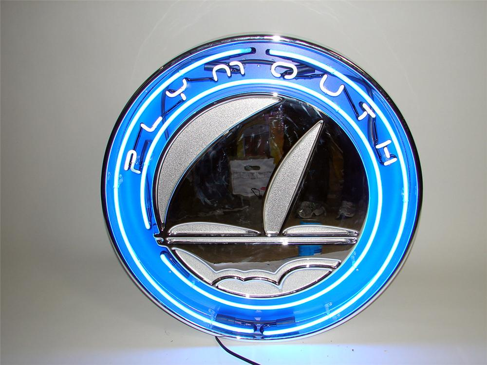 N.O.S. Plymouth Automobiles single-sided light-up neon dealership showroom sign. - Front 3/4 - 93894