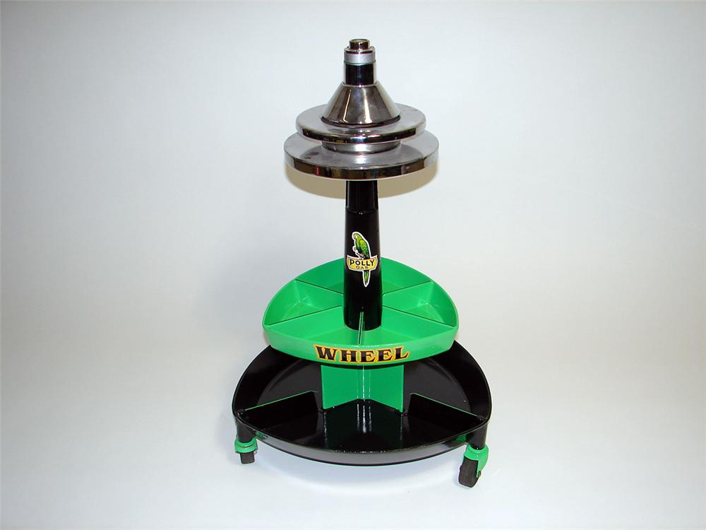 Marvelous 1940s Polly Gasoline service station restored tire wheel balancer. - Front 3/4 - 93898