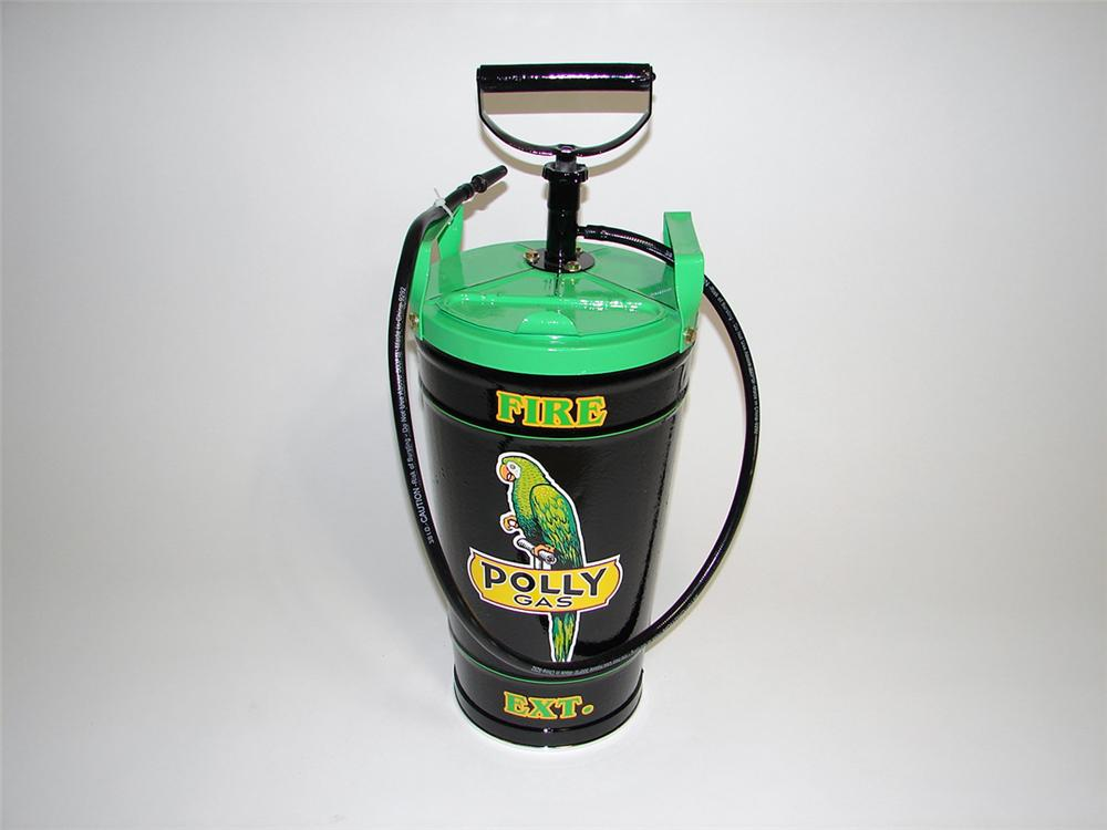 Interesting 1920s-30s Polly Gasoline fuel island hand pump fire extinguisher. - Front 3/4 - 93899