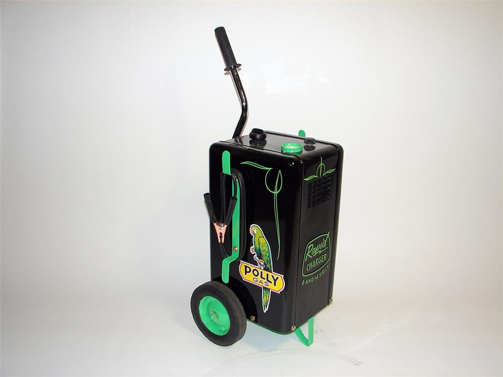 Magnificent mid-1950s Polly Gasoline Rapid Battery Charger on wheels. - Front 3/4 - 93900