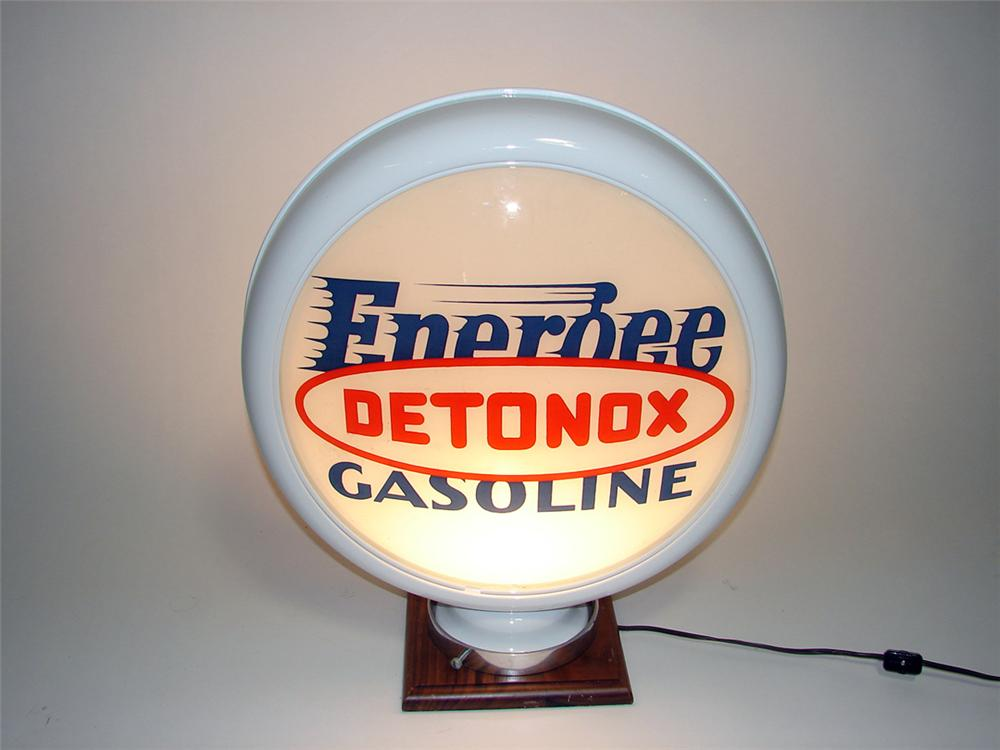 Extremely rare late 1920s-early 30s Pure Energee Gasoline with Detonox metal body globe. - Front 3/4 - 93909