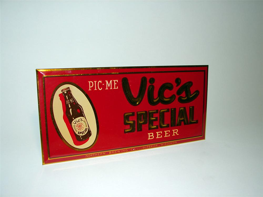 N.O.S. 1940s Vics Special Beer celluloid general store sign. - Front 3/4 - 93912