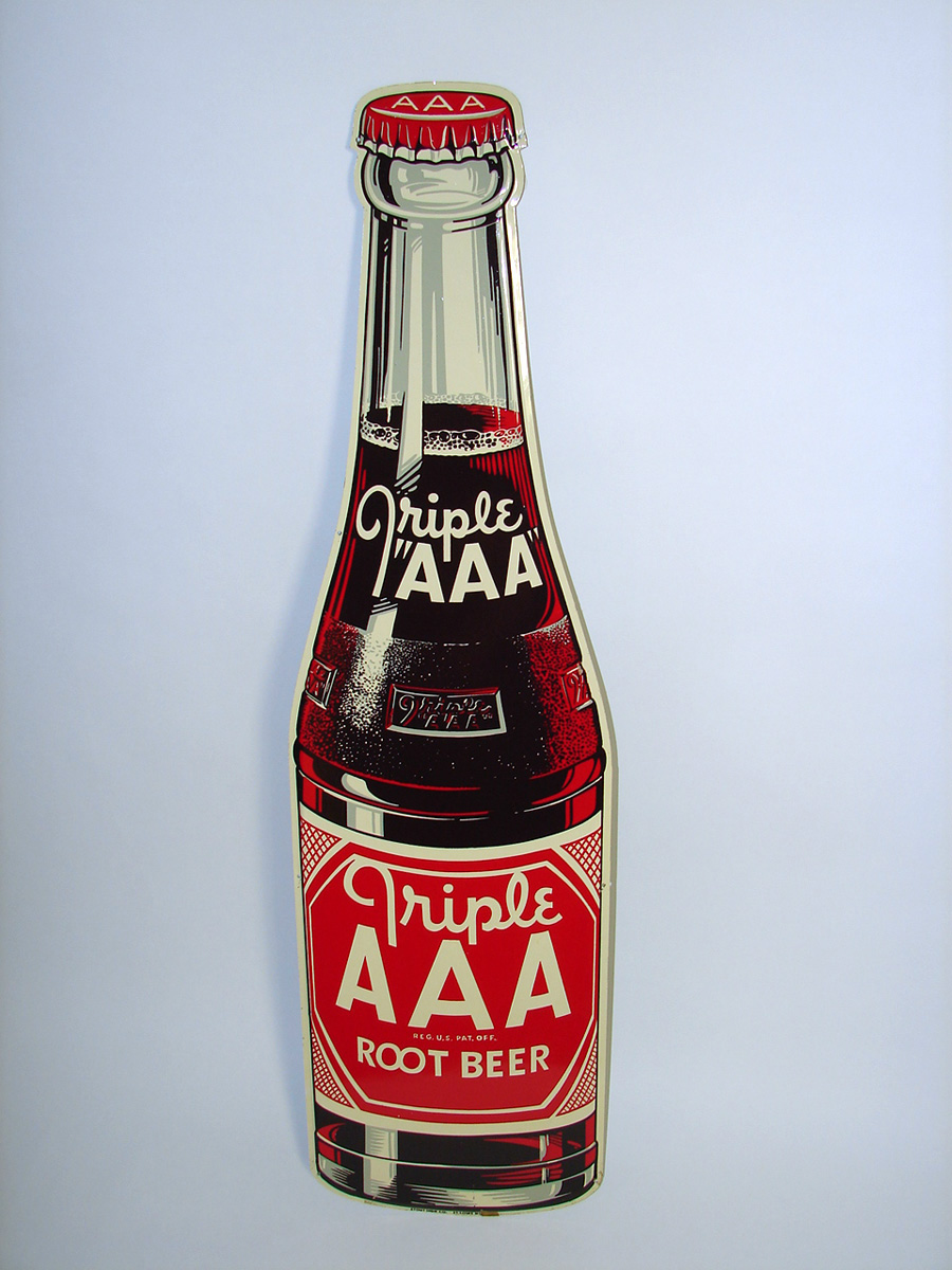 N.O.S. 1948 Triple A Root Beer single-sided die-cut bottle shaped tin sign. - Front 3/4 - 93913