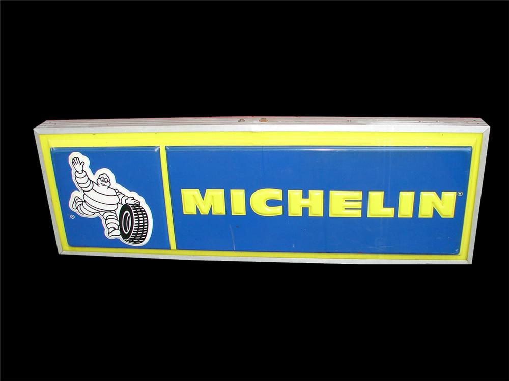 Terrific 1960s Michelin Tires double-sided light-up garage sign featuring Bibedum logo. - Front 3/4 - 93914