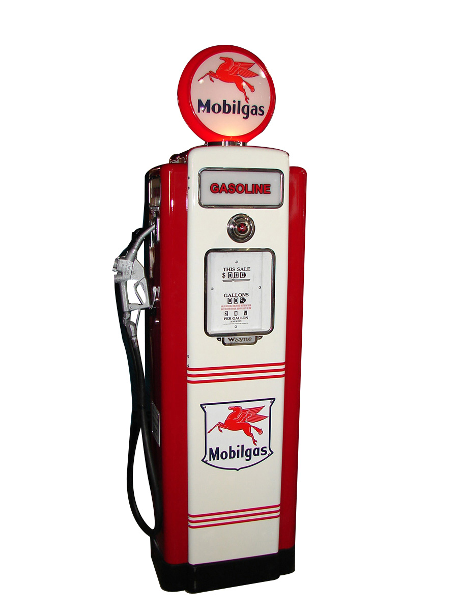 Incredibly restored 1948 Mobil Wayne model #70 restored service station gas pump. - Front 3/4 - 93917