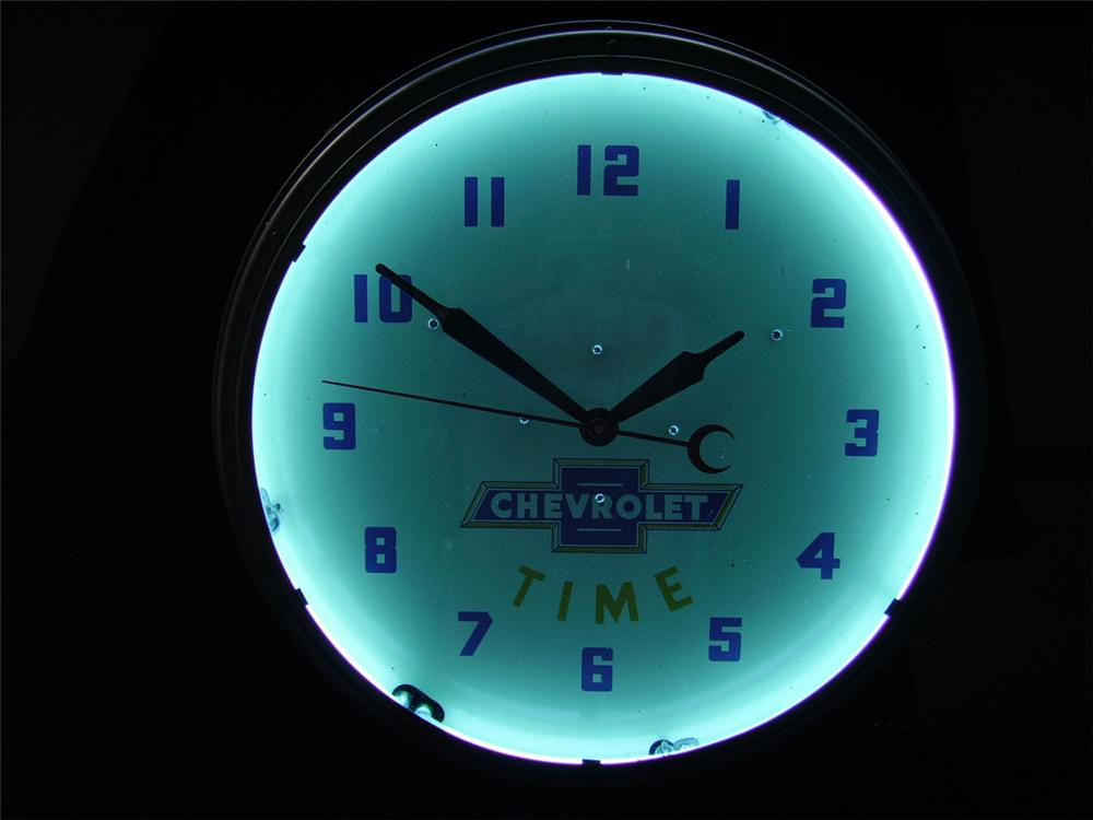 "1930s-40s Chevrolet ""Chevrolet Time"" dealership showroom clock. Lights and works well. - Front 3/4 - 93925"