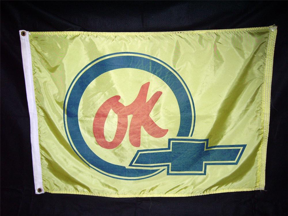 Very nice 1960s Chevrolet OK Used Cars dealership flag with bow-tie logo. - Front 3/4 - 93929