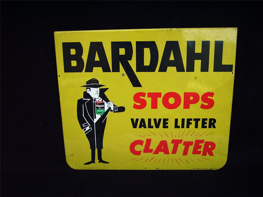 """Neat 1960s Bardahl """"Stops Valve Lifter Clatter"""" single-sided tin garage sign. - Front 3/4 - 93936"""