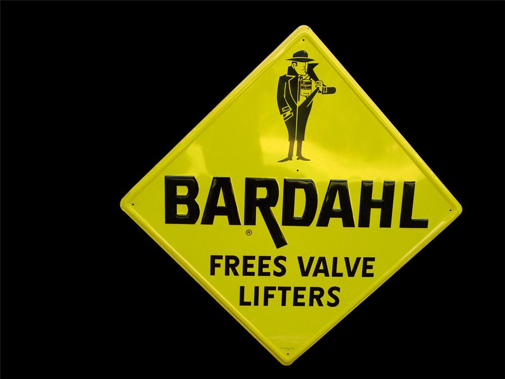 "Large N.O.S. 1966 Bardahl ""Frees Valve Lifters"" single-sided embossed tin garage sign. - Front 3/4 - 93937"