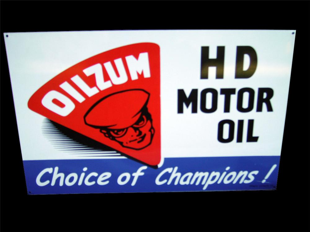 Highly prized N.O.S. 1959 Oilzum Motor Oil single-sided tin garage sign. - Front 3/4 - 93938