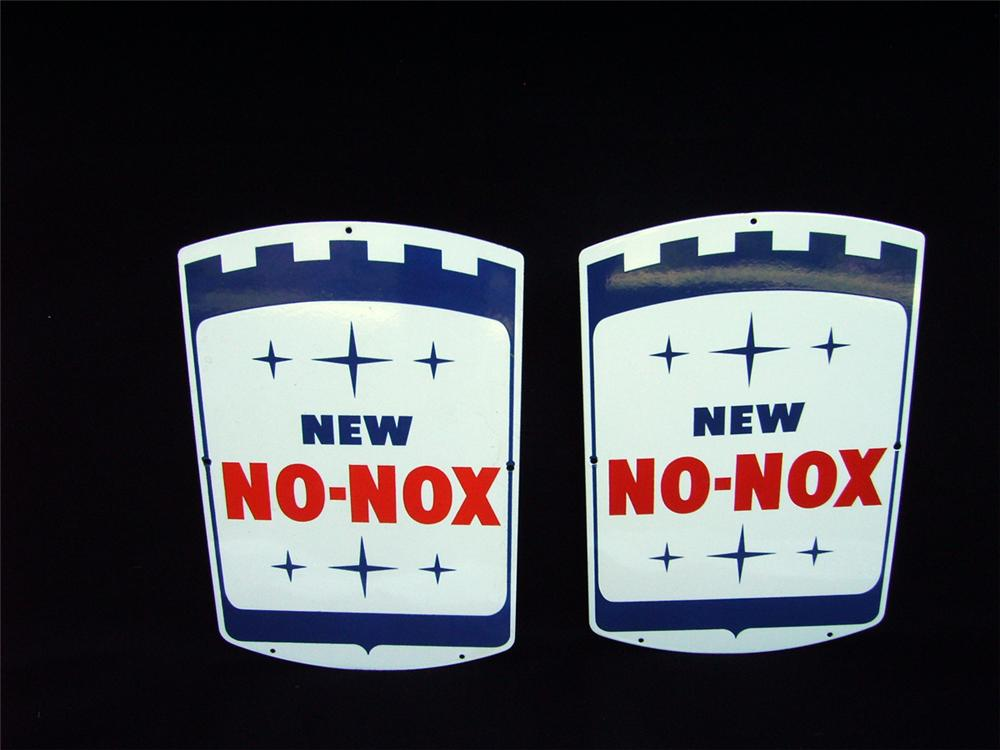 """Pair of N.O.S. 1960s Gulf """"New No-Nox"""" single-sided porelain pump plates. - Front 3/4 - 93941"""