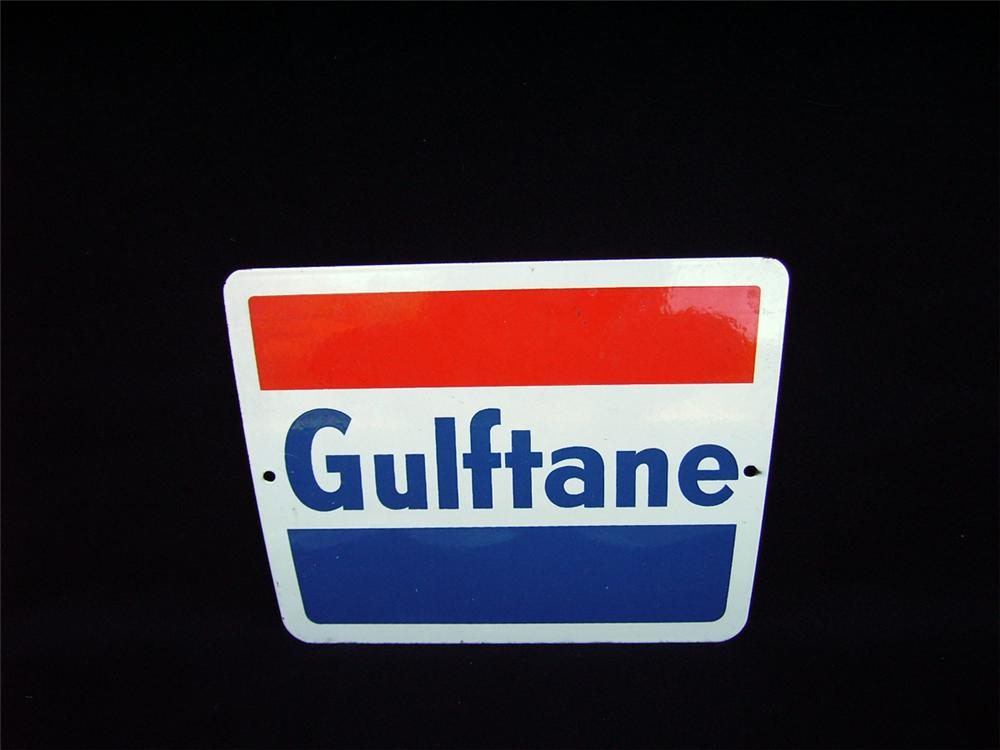 """N.O.S. 1960s Gulf """"Gulftane"""" porcelain pump plate sign. - Front 3/4 - 93942"""