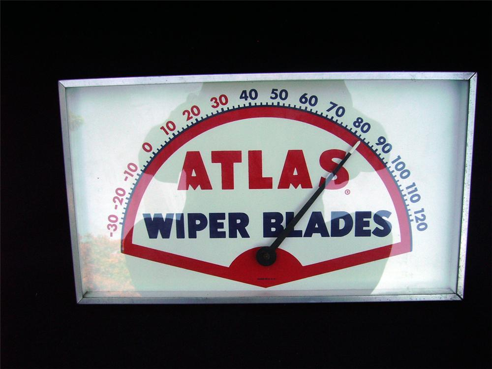 1950s Standard Atlas Wiper Blades glass faced service station dial thermometer. - Front 3/4 - 93944