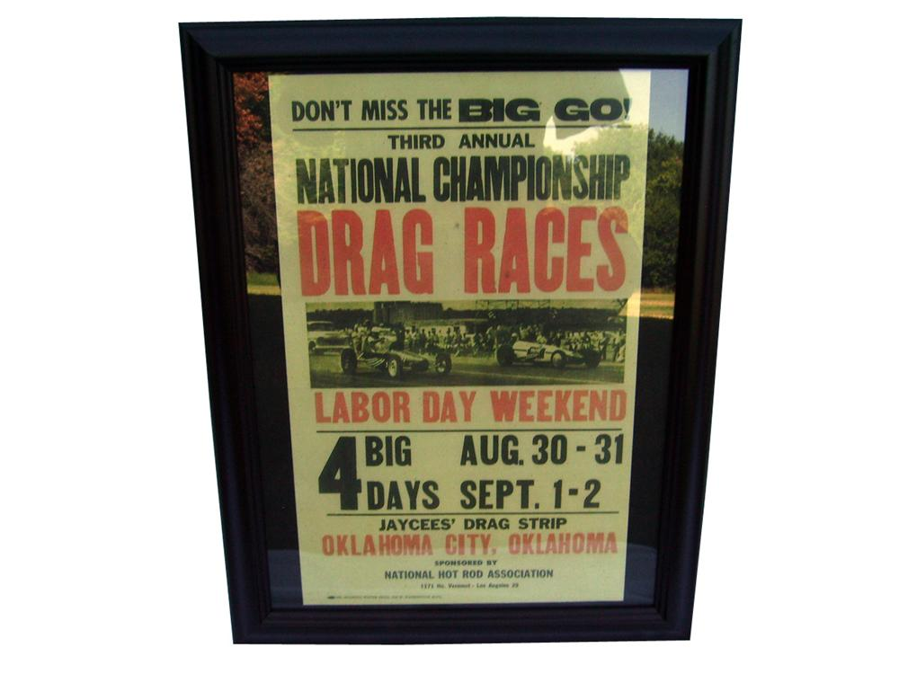 Awesome 1960 NHRA National Championship Drag Races poster at Oklahoma City. - Front 3/4 - 93947