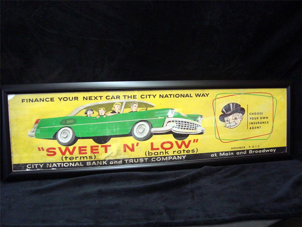 """1950s City National Bank and Truck """"Auto Financing"""" dealership display cardboard sign. - Front 3/4 - 93959"""