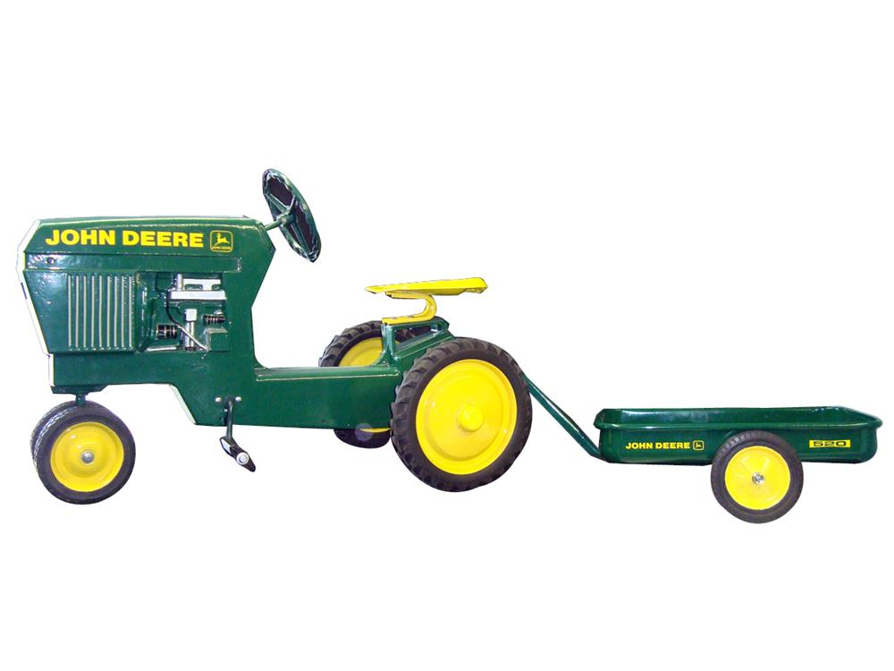 Rare 1950s all metal John Deere pedal tractor with trailer. - Front 3/4 - 93970