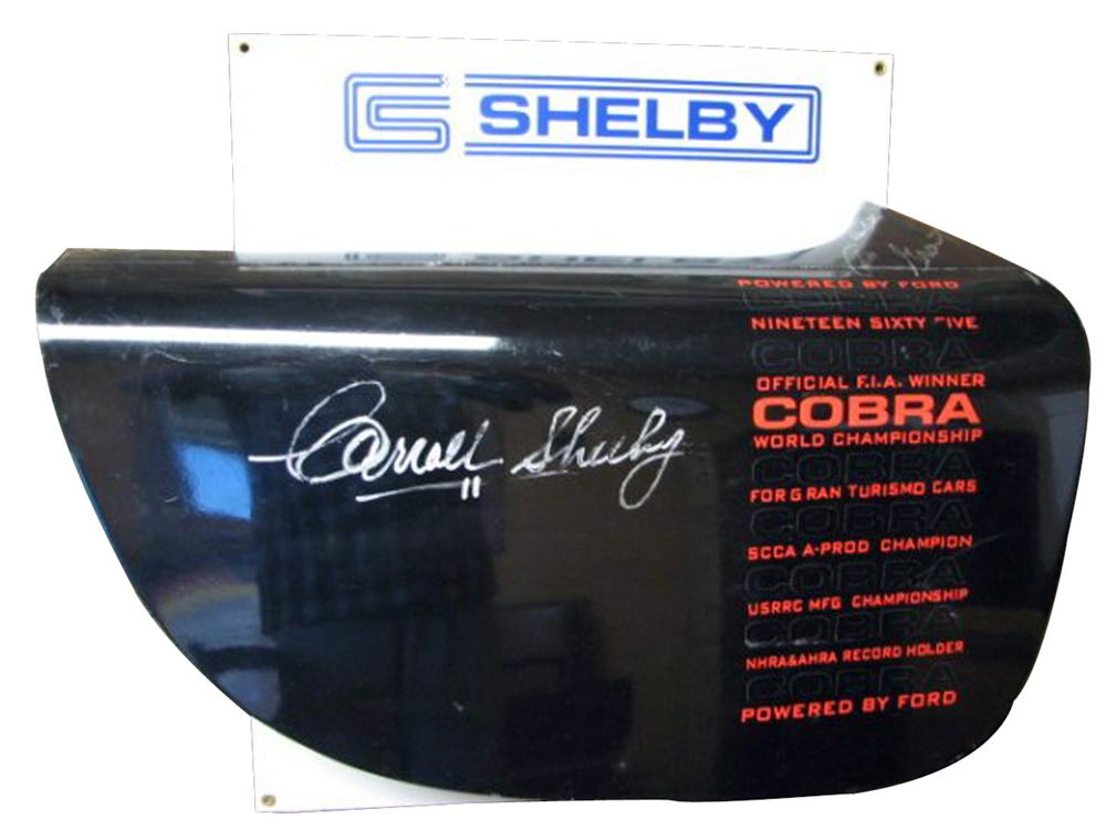 Mounted race door off a Shelby cobra autographed by Carroll Shelby, Ron Butler, and Allen Grant. - Front 3/4 - 93977