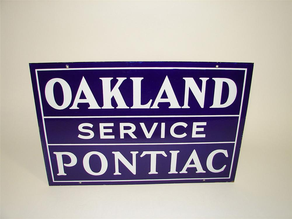 Striking 1930s Oakland-Pontiac double-sided porcelain dealership sign. - Front 3/4 - 93985