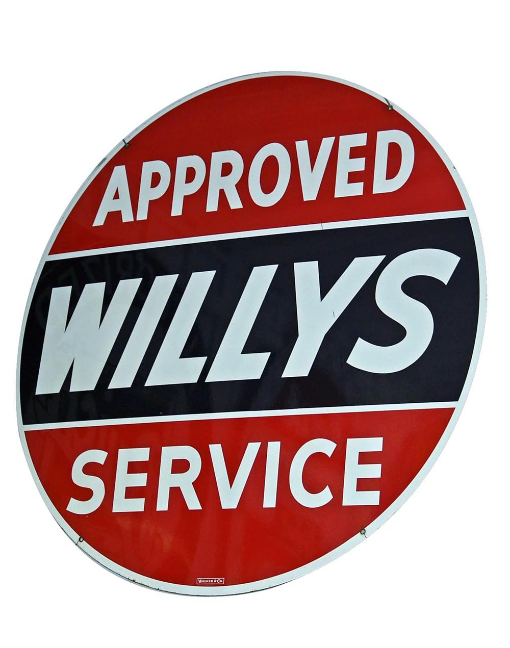 Museum quality late 40s-early 50s Willys double-sided porcelain dealership sign. - Front 3/4 - 93986