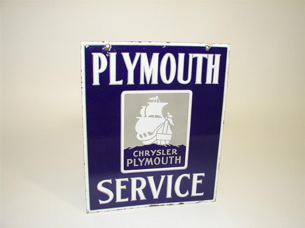 Very hard to find 1930s Chrysler-Plymouth Service double-sided porcelain dealership sign with logo. - Front 3/4 - 93989