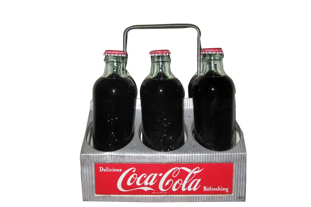 1950s Coca-Cola six pack aluminum carrier with embossed bottles. - Front 3/4 - 93993