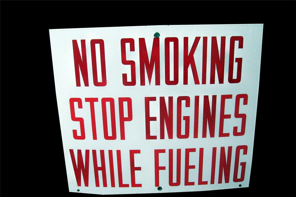Very clean 1950s No Smoking Stop Engines When Fueling porcelain service station fuel island sign. - Front 3/4 - 93997