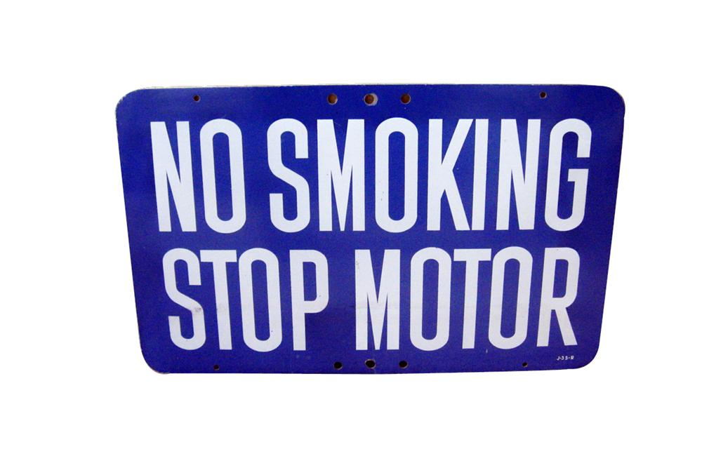 1940s-50s No Smoking Stop Motor single-sided service station fuel island sign. - Front 3/4 - 93998