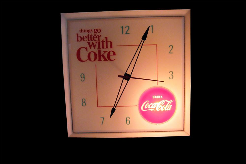 """Late 1950s Coca-Cola """"Things Go Better With"""" light-up diner clock. Face is very nice! - Front 3/4 - 94000"""