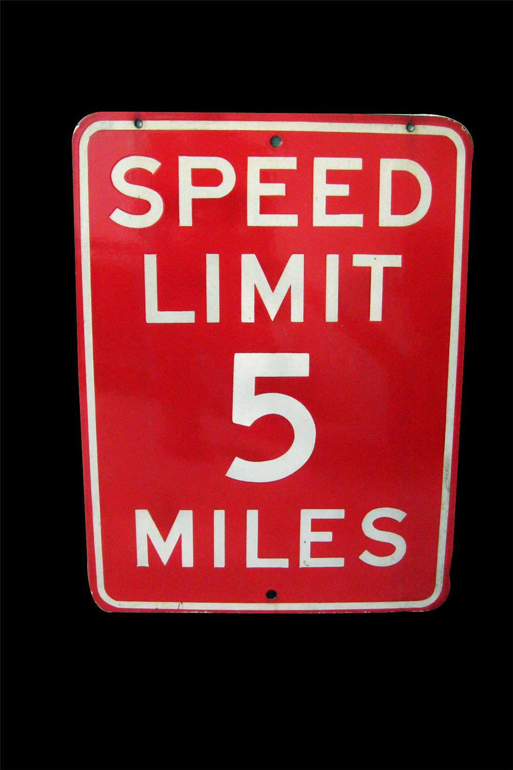 1930s very clean 5 miles per hour porcelain speed limit sign. - 94016