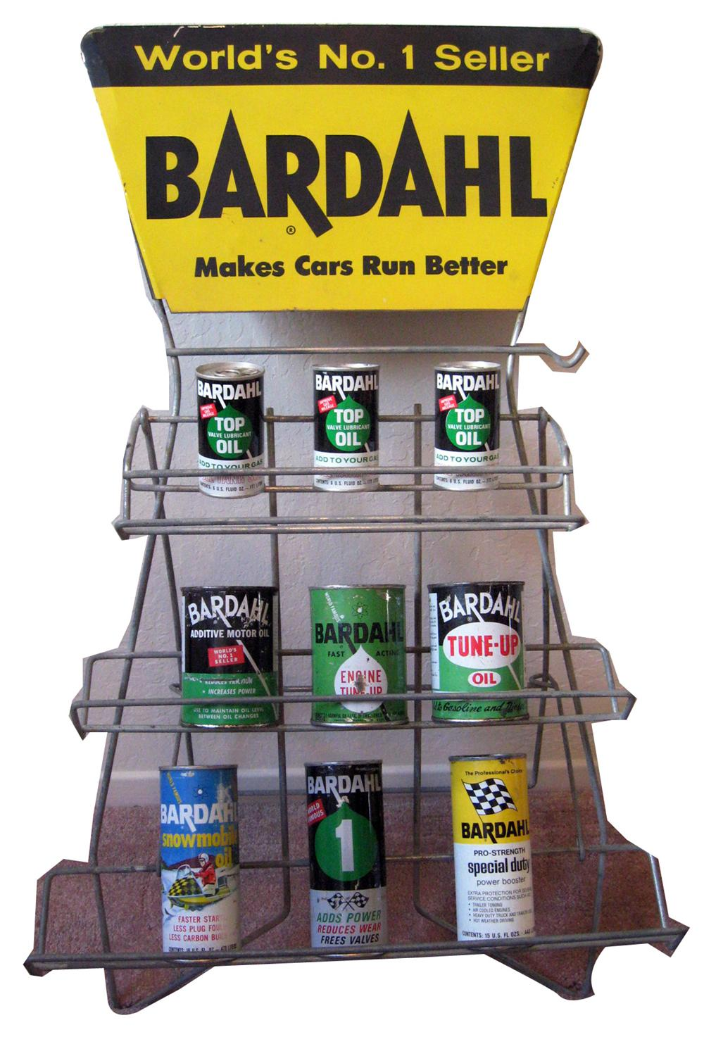 Exceptional Bardahl engine additive 1950s-60s store display rack filled with original tins. - Front 3/4 - 94017