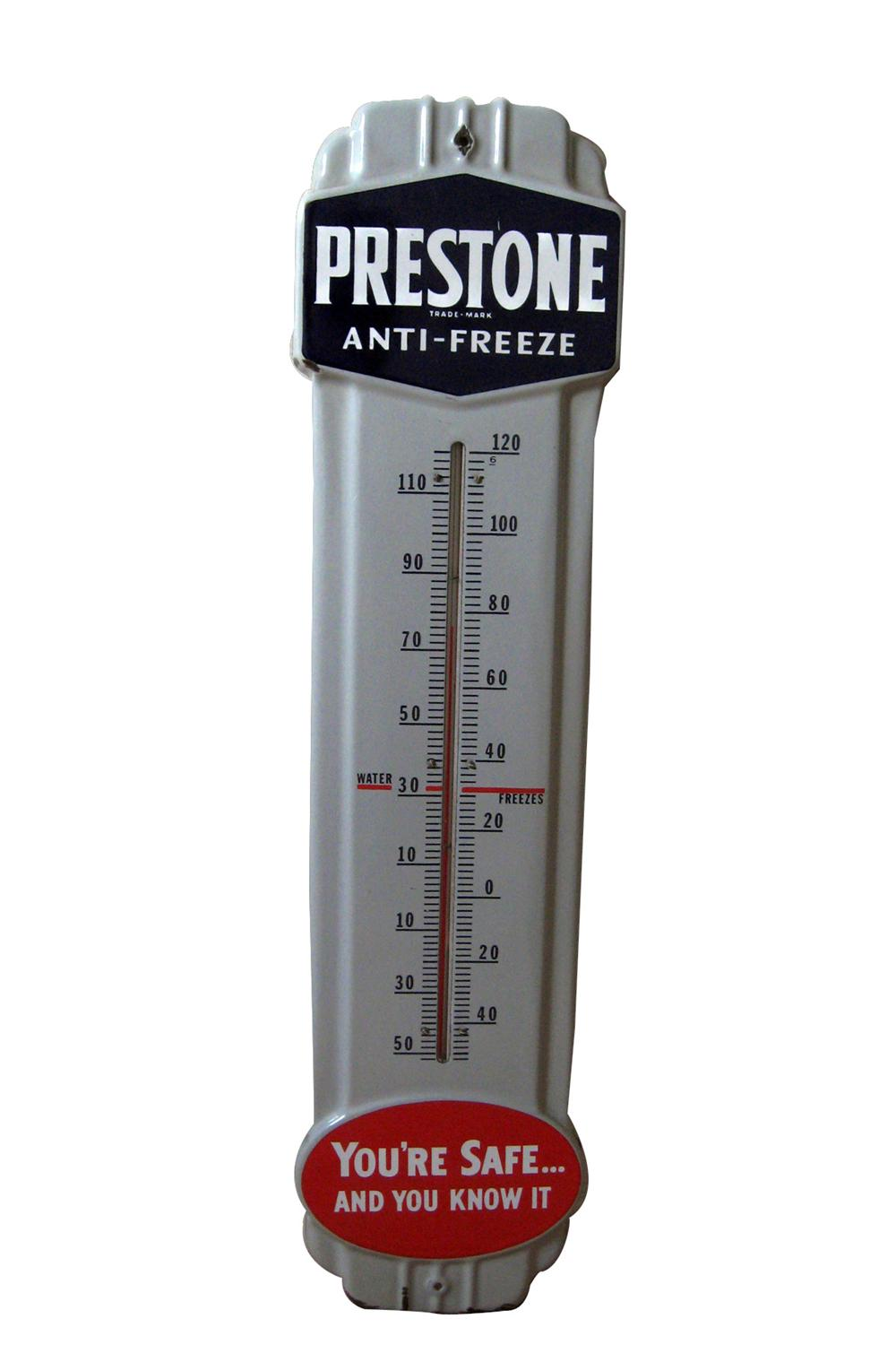 Very clean 1940s Prestone Anti-Freeze porcelain service station thermometer. - Front 3/4 - 94020